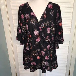 4/$25 Torrid sheer black rose top